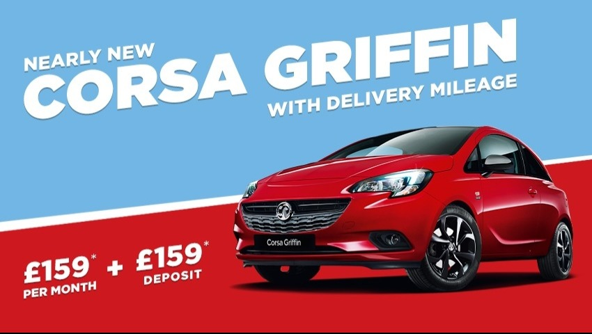 NEARLY NEW Corsa Griffin from £159 a month with £159 deposit.